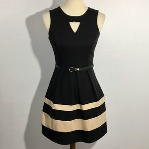 IZ Byer Fit and Flare Striped Belted Dress